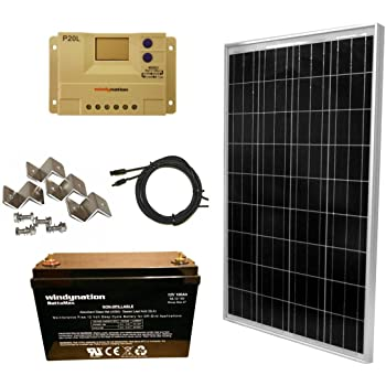 WindyNation 100 Watt Solar Panel Kit: 100W Solar Panel + 20A LCD PWM Charge Controller + Wiring Connectors + Z Brackets + AGM 100ah Deep Cycle Battery for 12V Battery Off Grid, RV, Boat