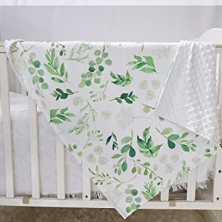 Baby Blankets, Green Leaf Minky Toddler Blanket for Boys Girls, Dotted Backing, Double Layer, Crib Receiving Blanket, for ...