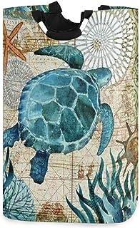 CaTaKu Panier à linge marin en forme de tortue océanique Grand rangement étanche facile à transporter pour dortoir familia...