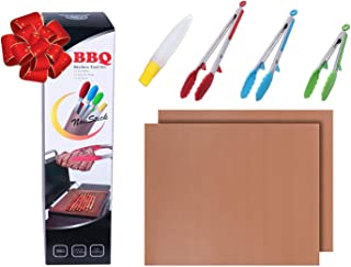BBQ Tool Set - Heavy Duty Non-Stick Stainless Steel Silicone Tongs and Copper Grill Mats - Heat Resistant Kitchen Tongs for Barbecue Baking Grilling Cooking - Bonus Oil Brush by WHG