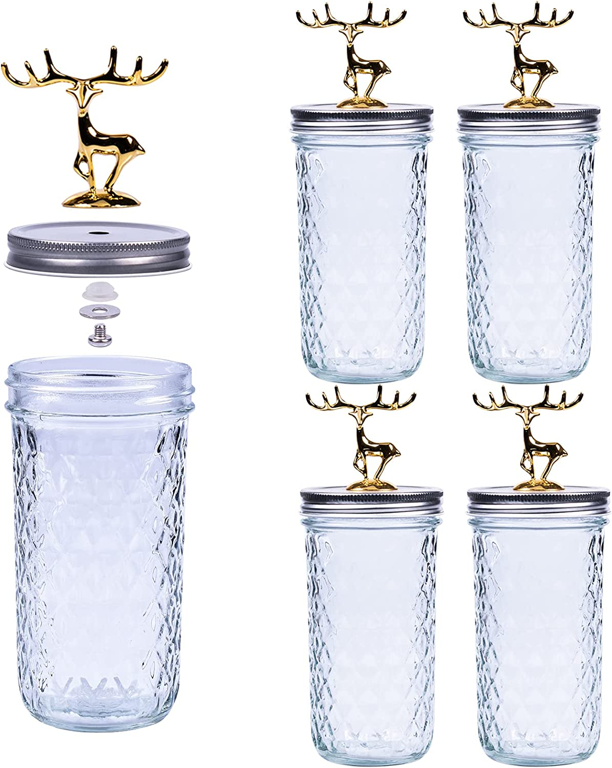 Wide Mouth Mason Jars 22 oz with Lids, TOBERGO Canning Jars 4 PACK comes with Decorative Golden Deer, Glass Jars, Ideal for DIY, Food Storage, Wedding Favors, Jam, Body Butters, Jelly