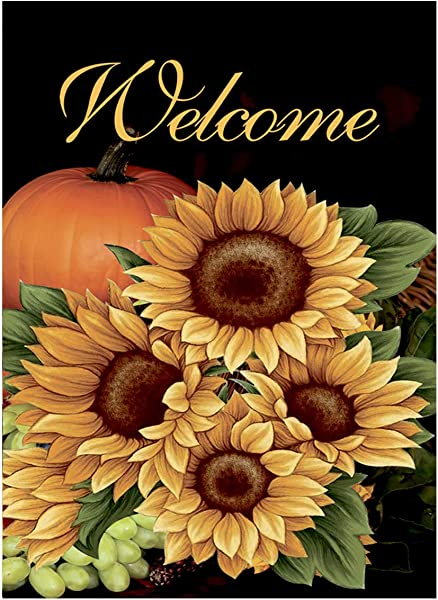Morigins Welcome Fall Sunflower House Flag Double Sided Autumn Pumpkin Outdoor Flag 28 X 40 Inch