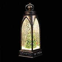 Mobestech Lanterna de neve de Natal iluminada com globo de neve, árvore de Natal, lanterna de árvore de Natal para festa d...