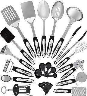 ظروف آشپزخانه آشپزخانه از جنس استنلس استیل - 25 ظروف پخت و پز - ظروف آشپزخانه نانسیکت مجموعه وسایل آشپزخانه با اسپاتولا - بهترین وسایل آشپزخانه لوازم آشپزخانه هدیه توسط HomeHero