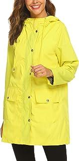 SUNAELIA Rain Jacket Women Waterproof Lightweight Hooded Raincoat Active Outdoor Windbreaker Trench Coat S-XXL
