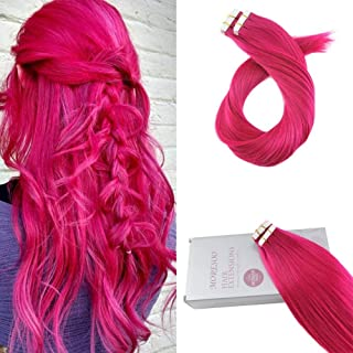 Moresoo 18 Inch Color Pink Tape on Straight Human Hair Extensions Tape in Hair Extensions Real Hair 25g/10pcs Full Hair Seamless Per Pack 100% Human Hair