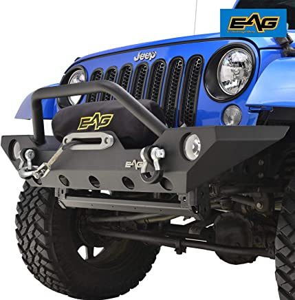 EAG Front Bumper with Winch Plate and Fog Light Housing for 07-18 Jeep Wrangler