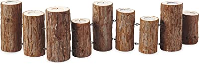 Amazon.com: MyGift de madera log-pillar diseño portavelas ...