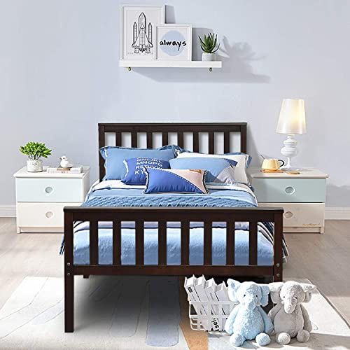 popular Giantex Deluxe Solid 2021 Wood Platform Bed with Headboard & Footboard, high quality 14 Inch Pine Wooden Mattress Foundation, Wood Slats Great Support with Six Legs, No Box Spring Needed, Antique Espresso (Twin) online