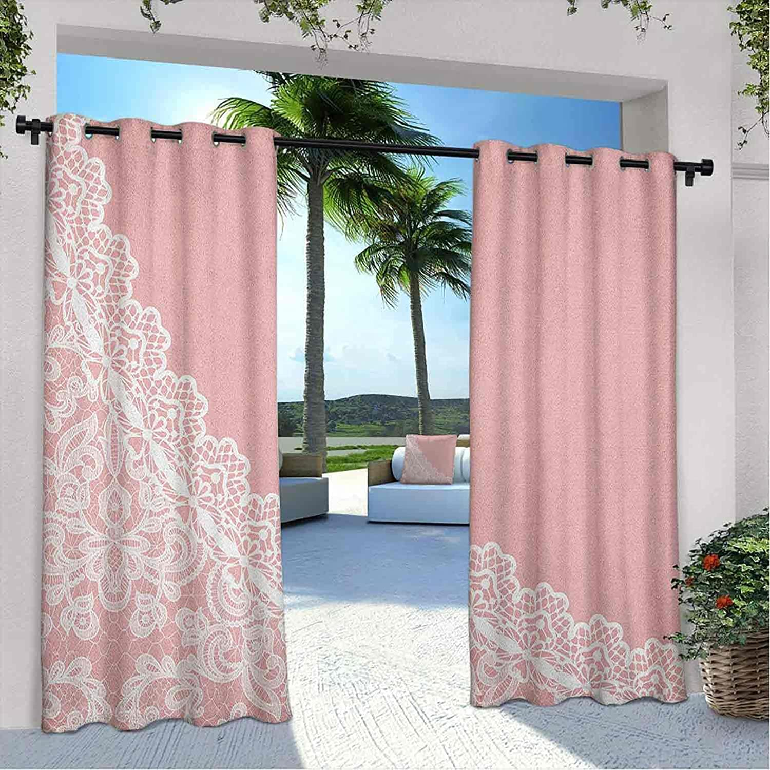 Printed Outdoor Pink and Financial sales sale White Lace Borde Ranking TOP18 Old Fashioned Curtain