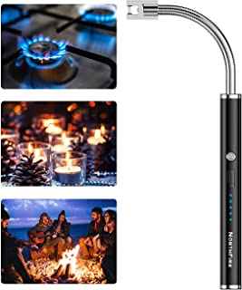 NORTHFIRE Candle Lighter - Electronic Flameless USB Rechargeable Arc Lighters with LED Battery Display Safety Switch Flexible Neck for Home Kitchen Camping Cooking BBQ Fireworks (1Pack)