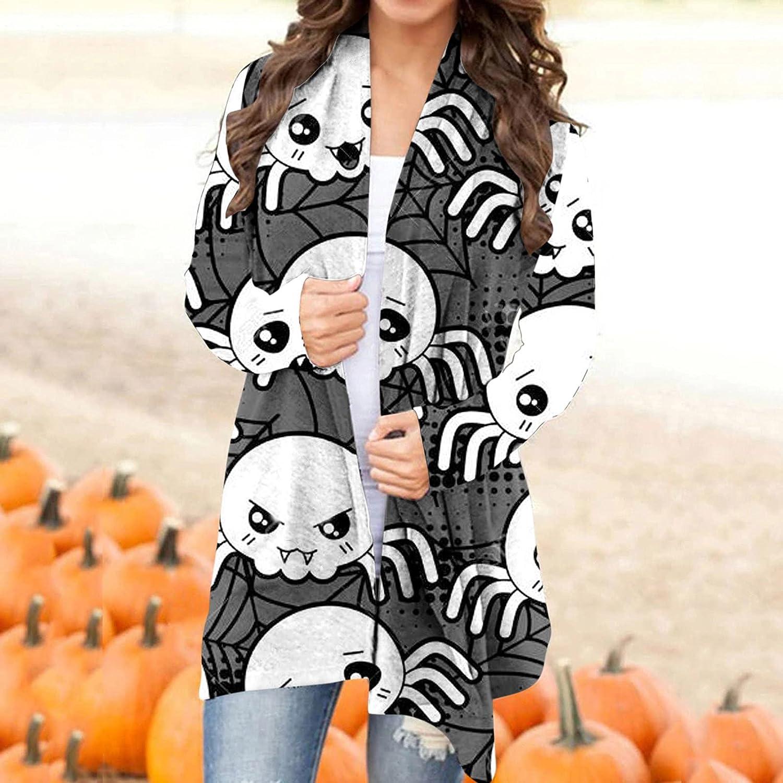 Halloween Cardigan for Women,Women's Fashion Autumn Long Sleeve Print Blouse Long Tunic Tops Coat Sweaters