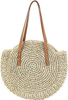 Bamboo Handbag,Bloomma Handmade Woven Tote Bamboo Purse Straw Beach Bag Half Moon Bag for Women,Dual-Purpose Circular Travel Sling Bag Crossbody Bag