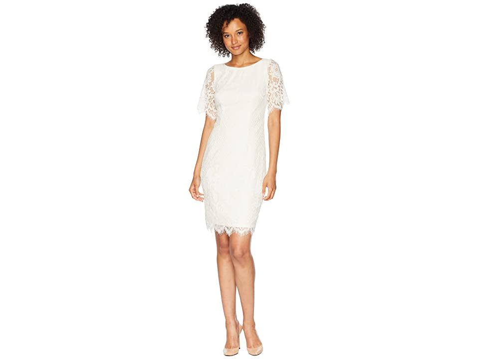 Adrianna Papell Bell Sleeve Georgia Lace Sheath Dress (Ivory) Women