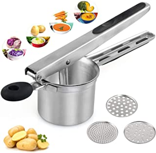 LEADSTAR Potato Masher Set, Upgrade Stainless Steel Food Ricer for Baby Food, Fruit & Vegetable, Heavy Duty & Hand Press Lemon Lime Orange Squeezer with 3 Interchangeable Disks, Soft Touch Handle