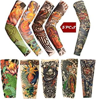 iToolai Temporary Tattoo Sleeves with Skulls, Lotus, Dragon, Rose, Hearts, Koi Fish (Pack of 5)