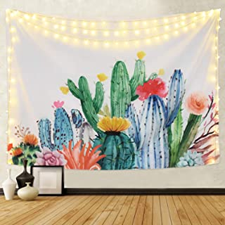 Martine Mall Cactus Wall Tapestry, Watercolor Saguaro Tapestry Wall Hanging, Tropical Landscape Desert Succulent Plant Tapestry for Home Decor