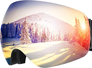 OMORC Ski Goggles,Large Spherical & Interchangeable Lens Ski Snow Goggles,Italy Imported Dual Layer Anti-fog Lenses,Two-wa...