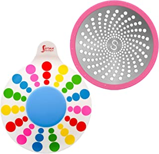 STAN BOUTIQUE Tub Stopper Bathtub Drain Plug for Bathroom, Kitchen and Laundry, Multicolor - Shower Drain Hair Catcher Trap Strainer - Steel and Silicone - Only for Flat Drains