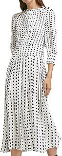 HaoDuoYi Womens Metallic Decorative Pleated Waist Slimming Long Sleeve Dress