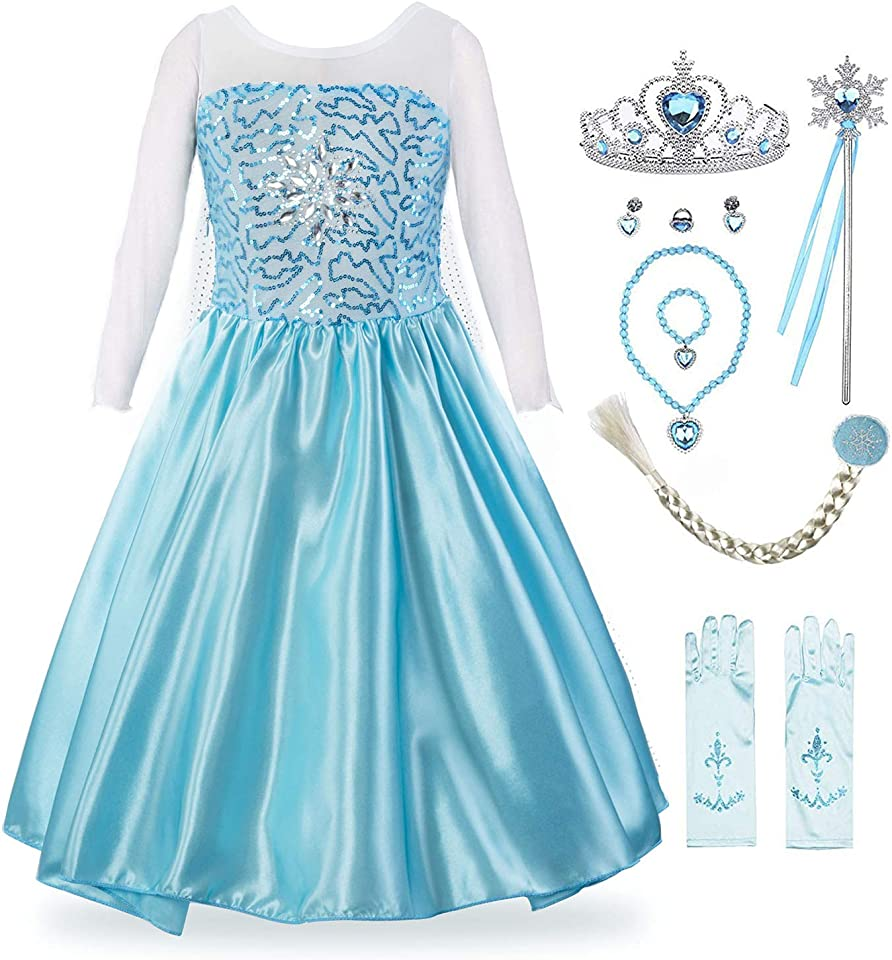 Padete Little Girl Princess Dress Snow Party Queen Halloween Costume Sky Blue with Accessories