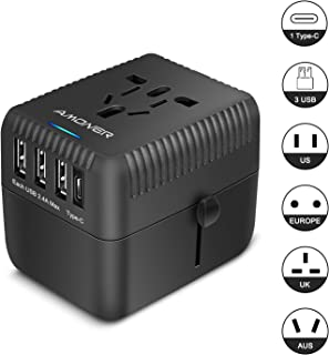 Amoner Universal Travel Adapter, All in One International Power Adapter with 3 USB + 1 Type-C Charging Ports, European Plug Adapter, AC Outlet Plug Adapter for European, US, UK, AU 160+ Countries