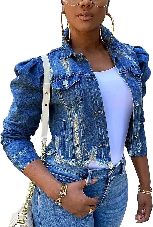 Women Denim Jacket Casual Ripped Cardigans Button Long Sleeve Open Front Outwear Vintage Boyfriend Streetwear Jackets