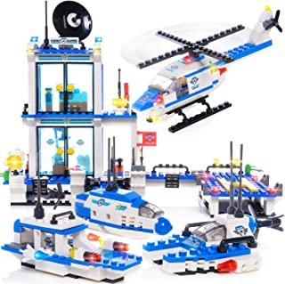 WishaLife 564 Pieces City Police Station, City Coast Guard Head Quarters Building Kit, City Police Patrol Boat Building Toy, City Sets with Ship and Helicopter for Boys and Girls 6-12
