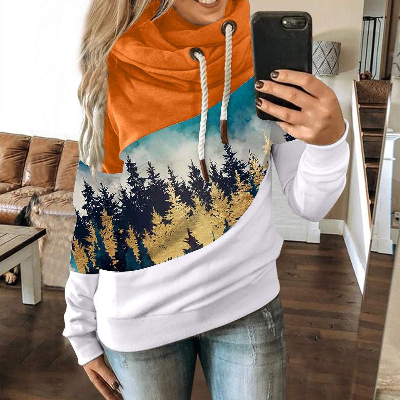 FantaisieZ Damen Herbst Winter Hoodie Outwear Kapuzenpullover Frauen Warm Elegante Hooded Sweatshirt mit Kapuze Mantel Jacke Tops Outwear Hoodie mit Kordel und Taschen Orange-2