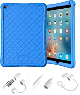 Bear Motion Silicon Case for iPad 9.7 2018 2017 / iPad Air 2 / iPad Air and Apple Pencil Cap Holder Cover Shockproof Silicone Protective Cover (Blue Silicon Case + White Apple Pen Holder)