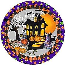 Holmeey Halloween kransbord ronde deurhanger welkomstteken voor Halloween-decoratie