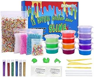 SuSenGo Super Slime Kit - 12 Colors Slime with 4 Pack Colorful Foam Balls, 250pcs Fresh Fruit Face Decoration, 2 Pack Grow in The Dark Powder, 6 Bottles Holographic Glitter Shake Jars for DIY Slime