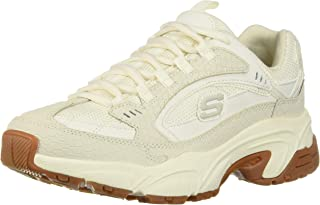 Skechers Women's Low-Top, Off-White (Off White Suede/Mesh/Off White & Gum Trim Ofwt), 8 us