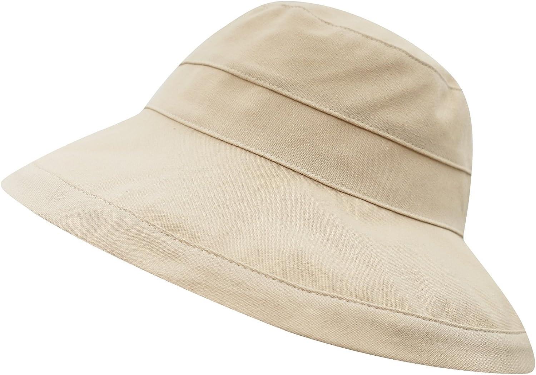 LLmoway Womens Cotton Foldable Fold up UPF50+ Sun Shade Hat w Adjustable Cord