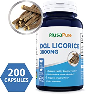 DGL Licorice Extract 3800mg 200 Capsules (Non-GMO & Gluten Free) - Supports Digestive & Respiratory Function