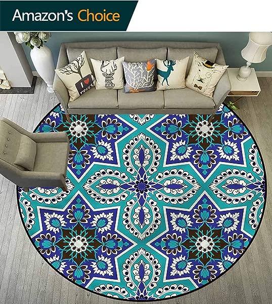 RUGSMAT Arabian Area Silky Smooth Rugs Traidional Arabesque Motif Carpet Door Pad For Bedroom Living Room Balcony Kitchen Mat Diameter 59