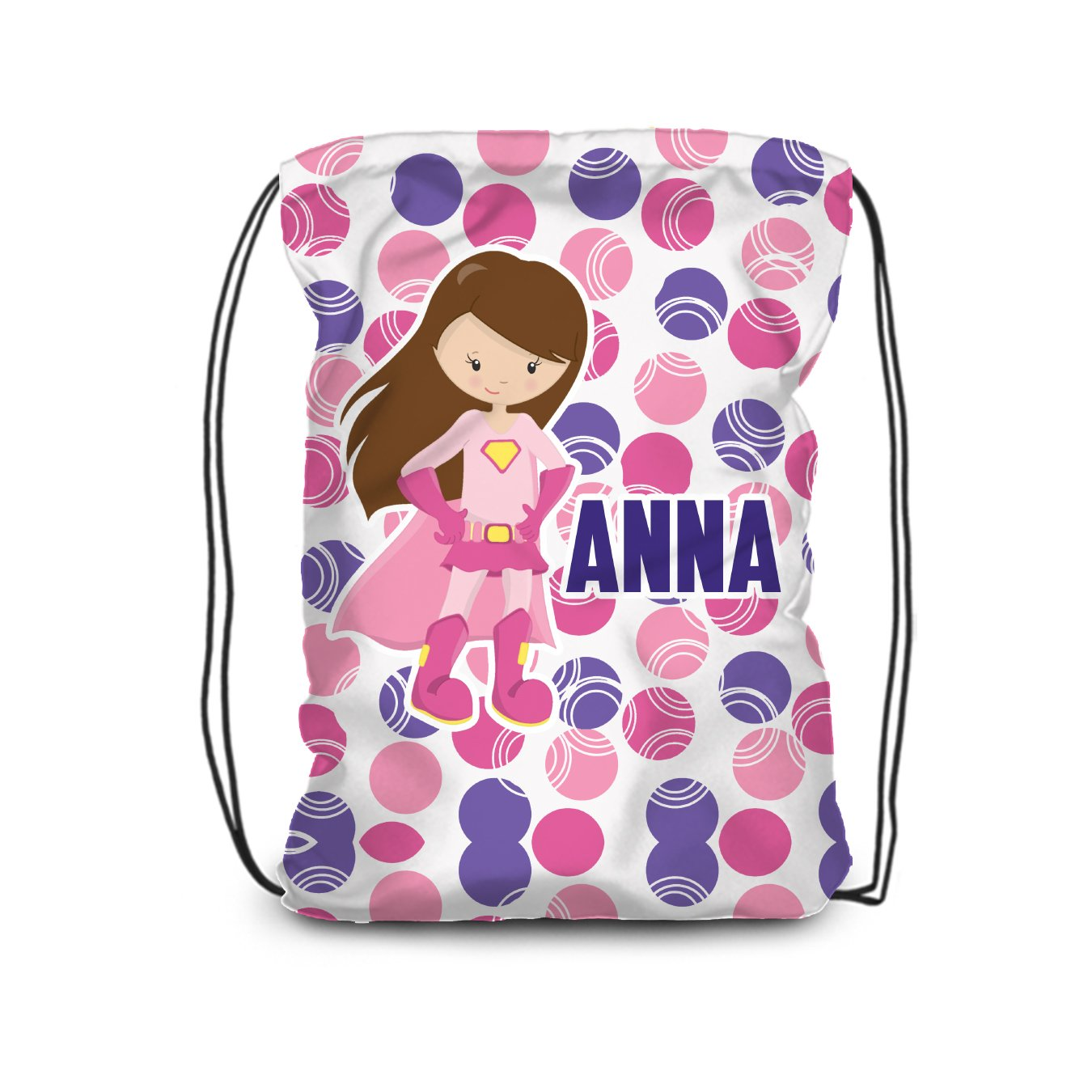 Superhero Drawstring Backpack - Pink Purple Girl Perso Sale Gorgeous SALE% OFF