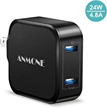 USB Charger, Dual Port 24W Wall Charger, ANMONE Power Adapter 2 USB Port and Foldable Plug Compatible iPhone Xs/XS Max/XR/X/8/7/6/Plus, iPad Pro/Air 2/Mini 3/Mini 4, Samsung S4/S5, and More (Black)