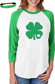 St Patricks Day Shirt Women Green Irish Shamrock Tees Clover Graphic Tops 3/4 Sleeve Baseball Jersey Shirts