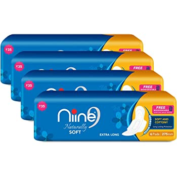 Niine Naturally Soft Extra Long Sanitary Pads for women (Pack of 4), With Biodegradable disposable bags inside, 24 Pads Count