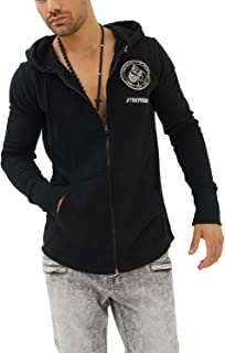 Casual Hombre Marca Sudadera Zip Estampado Ropa Retro Vintage Rock Vestir Moda con Capucha Manga Larga Slim Fit Designer Cool Urban Fashion Jacket Chaqueta Sueter