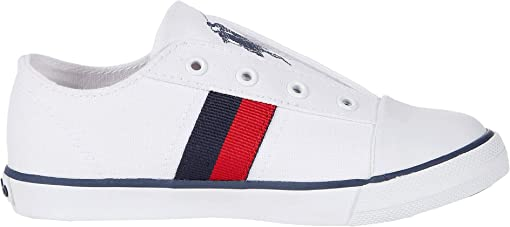 White Canvas/Navy/Red/Navy Polo Print