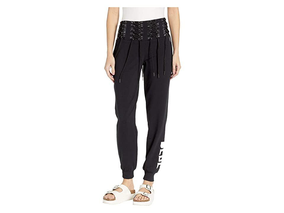 Bebe Logo Lace-Up Sweatpants (Jet Black) Women