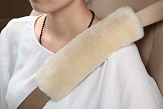 2pcs Authentic Sheepskin Auto Seat Belt Cover Shoulder Seatbelt Pad for Adults Youth Kids - Car, Truck, SUV, Airplane,Carmera Backpack Straps - Genuine High Density Soft Australian Wool by U&M