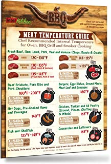 Best-Designed Cool Meat Temperature Magnet Guide Big Text USDA Chef Recommended Kitchen Oven Grill Cooking Internal Temperature Chart BBQ Grilling Barbecue Tool Useful Barbecue Accessories