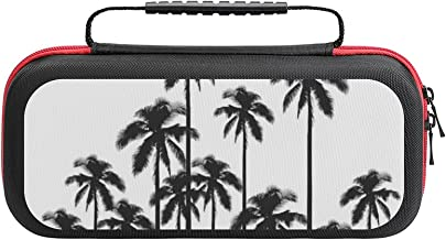 $26 » Black And White Exotic Tropical Palm Trees Case Compatible with Switch Case Protective Carry Bag Hard Shell Storage Bag Po...
