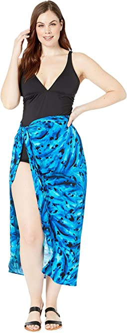 Plus Size Ocean Ocelot Long Sarong Cover-Up