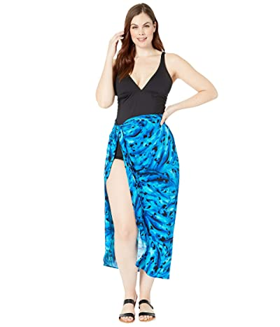 Miraclesuit Plus Size Ocean Ocelot Long Sarong Cover-Up (Blue) Women