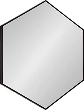 Kate and Laurel Rhodes 6-Sided Hexagon Framed Wall Mirror, 30.75x34.75, Black