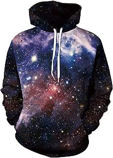 ZFADDS Space Galaxy 3D Sweatshirts Men/Women Hoodies with Hat Print Stars Loose Hoody Thin Tops Outwear